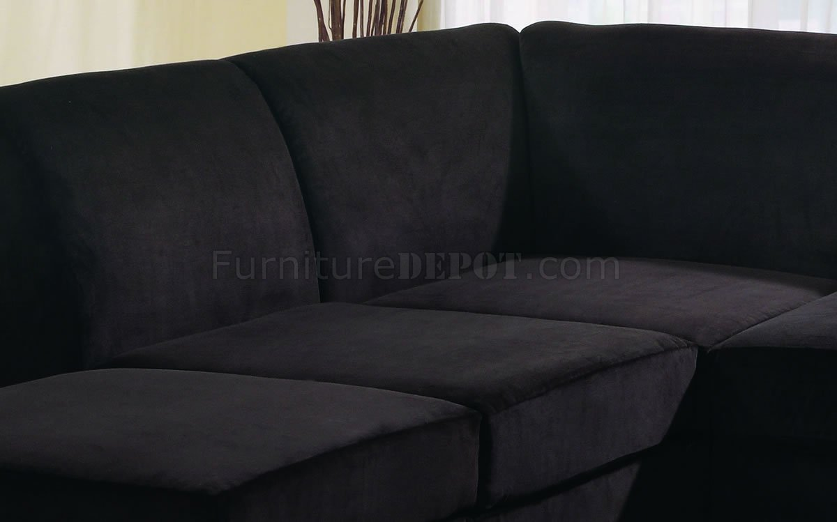 Black microfiber stylish sectional sofa w wooden legs for Black microfiber sectional sofa with chaise