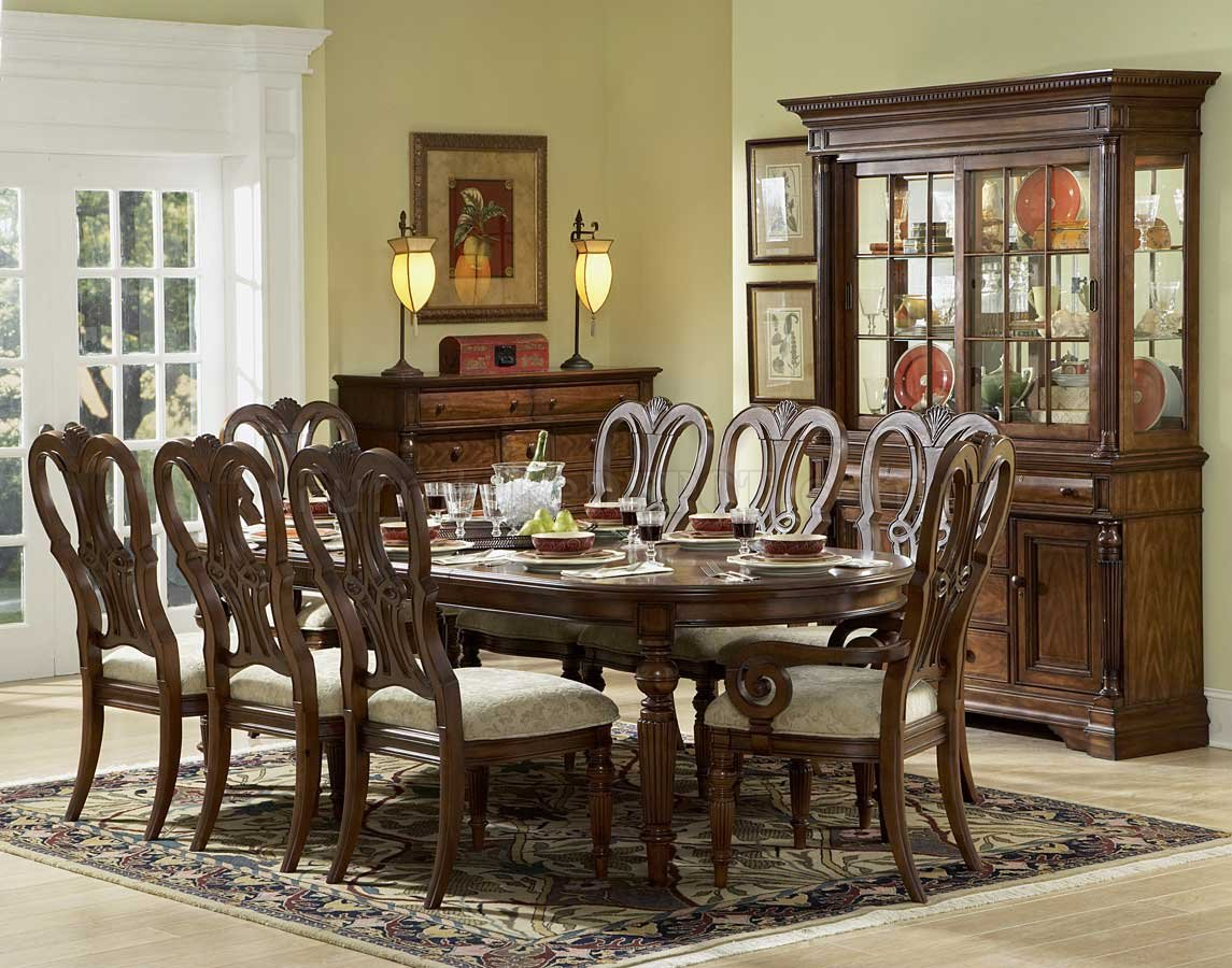 Mahogany finish classic dining room table w optional items for Classic dining room furniture