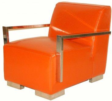 Orange Bi Cast Leather Modern Lounge Chair W Metal Arms Amp Legs