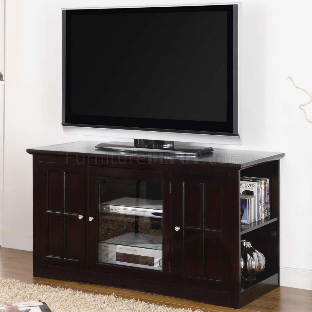 Espresso Finish Modern Tv Stand W Glass Door Amp Side Shelves