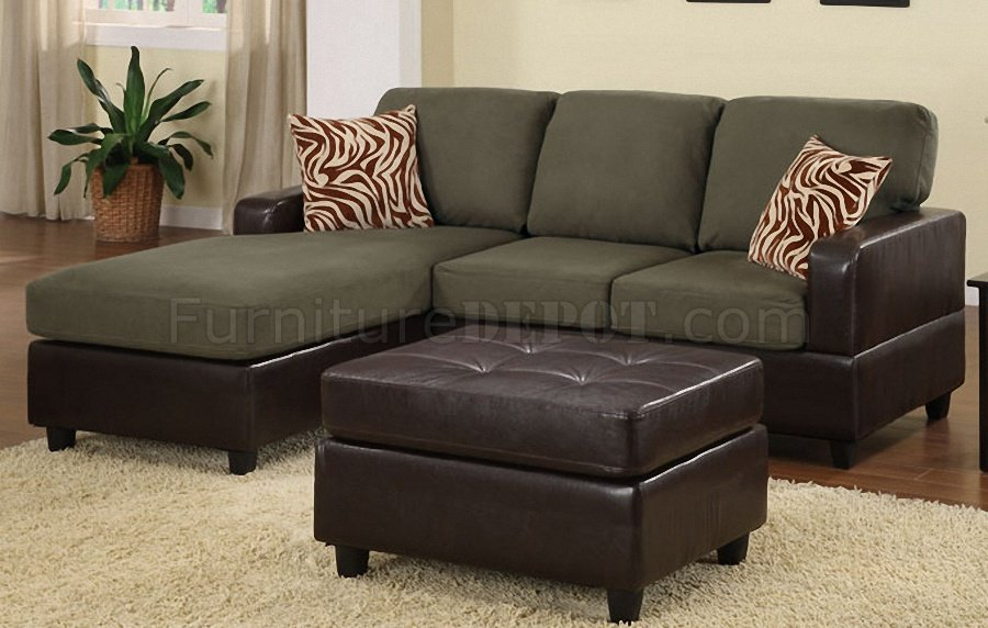 F7670 Sage Microfiber U0026 Faux Leather Sectional Sofa W/Ottoman