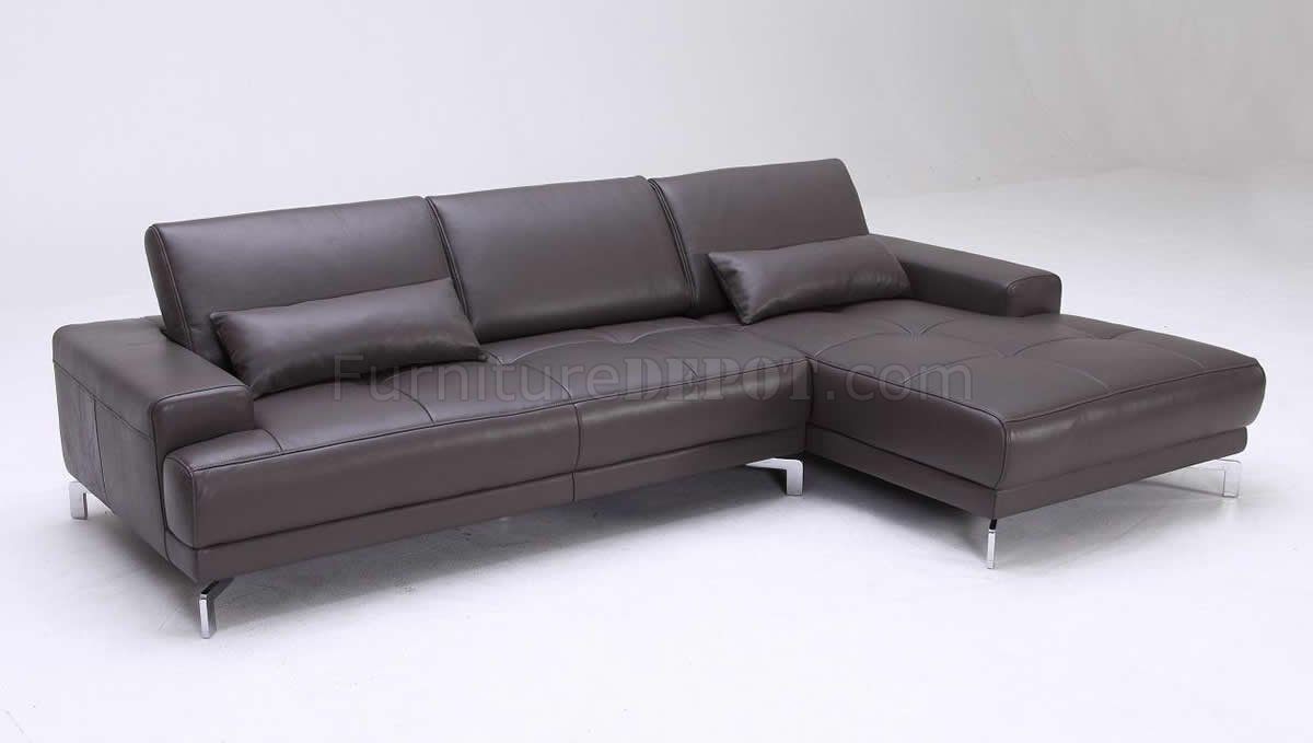 Grey Full Leather Modern Sectional Sofa W Adjustable Back Rests