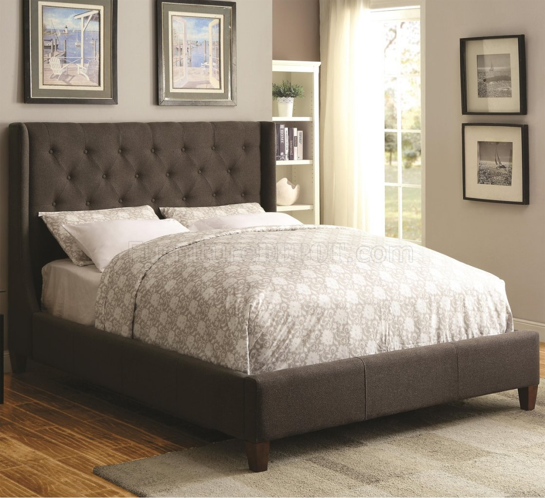 Owen 300453 Upholstered Bed In Grey Fabric By Coaster