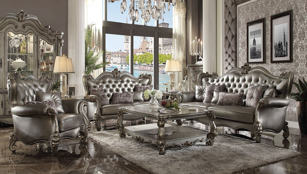 Versailles Sofa 56820 In Silver Pu Amp Antique Platinum By Acme