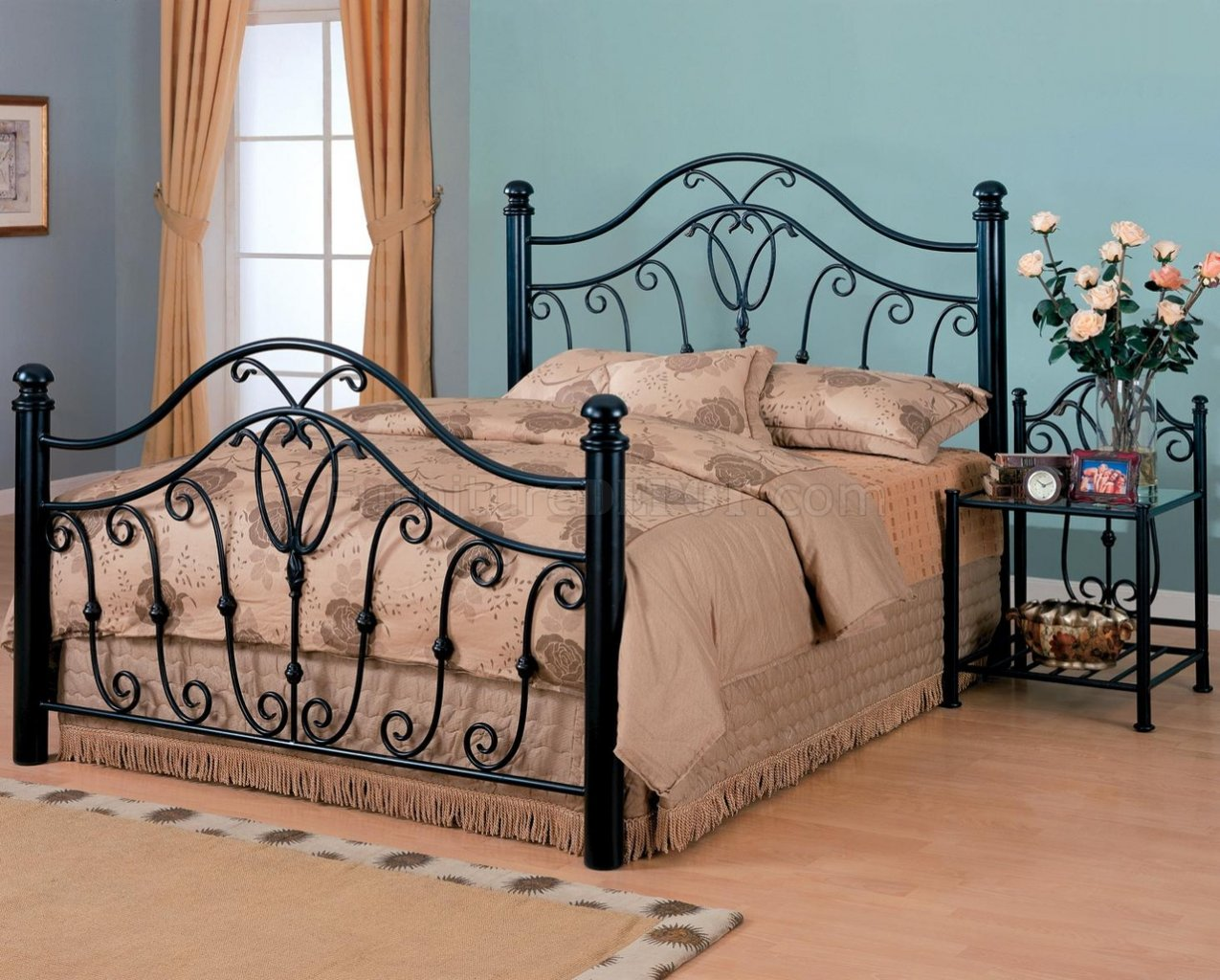 Black Finish Traditional Iron Bed W Optional Nightstands