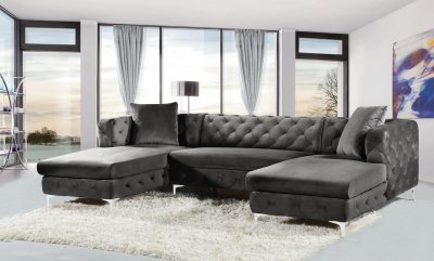 Gail Sectional Sofa 664 In Grey Velvet Fabric By Meridian