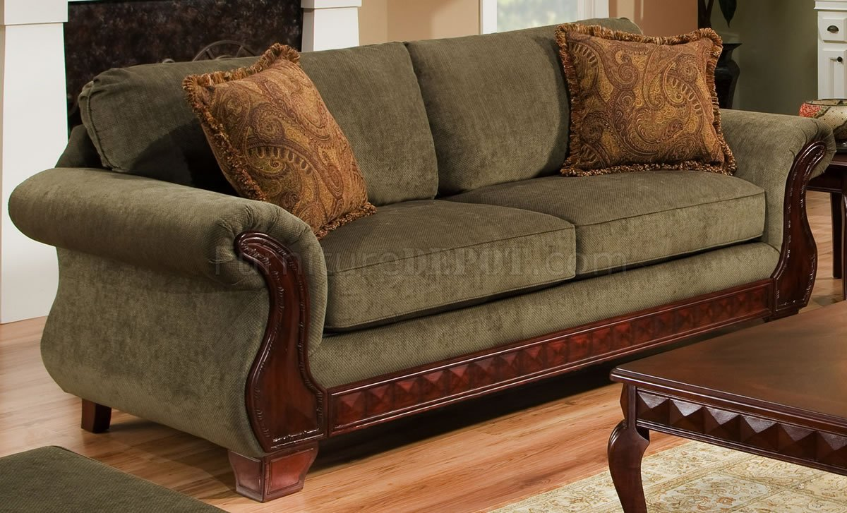 Green Fabric Traditional Sofa Amp Loveseat Set W Carved Wood