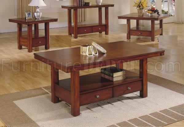 Cherry finish modern coffee table w drawers shelf for Modern cherry coffee table