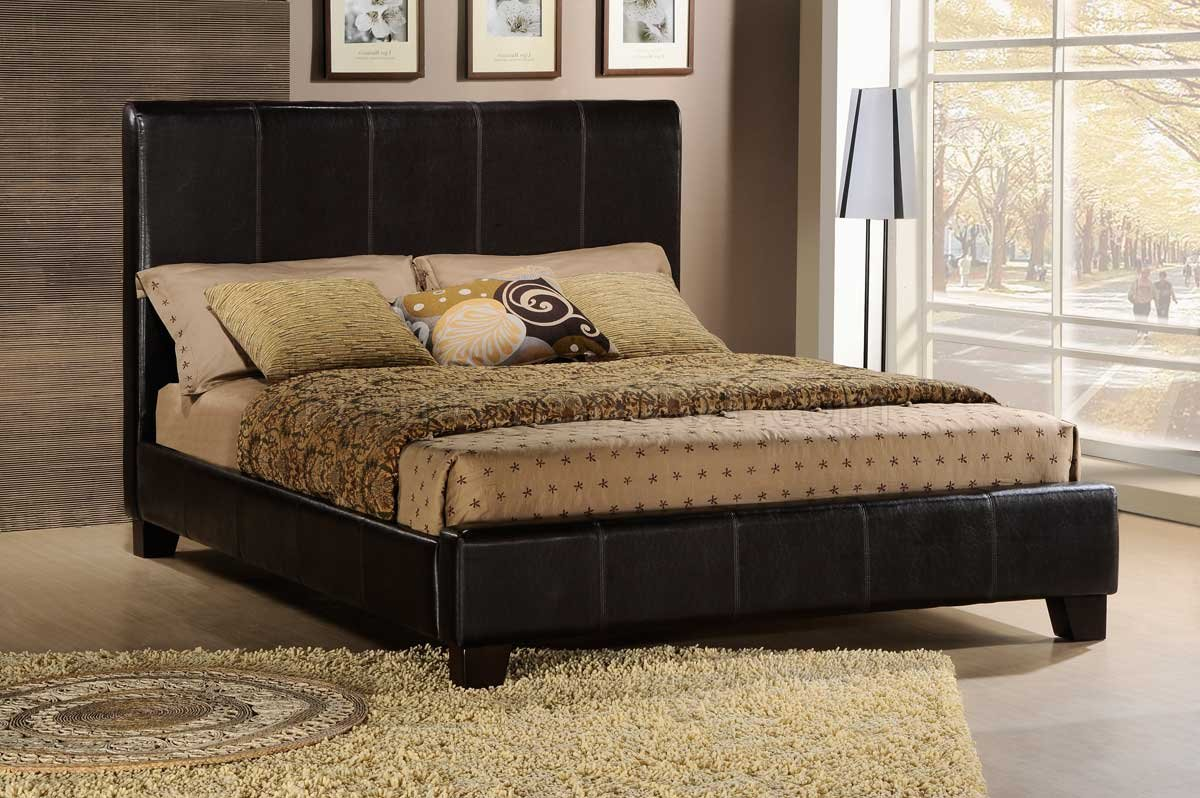 Dark Brown Bi-Cast Upholstered Modern Bed w/Baseball Stitching