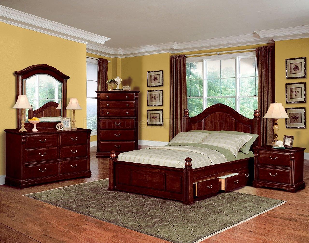 Dark Cherry Finish Traditional Kids Bedroom W/Optional