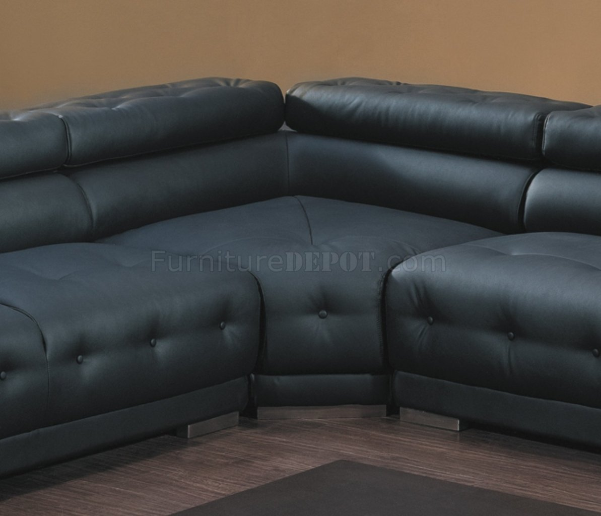 8097 Modern Leather Sectional Sofa In Black By American Eagle
