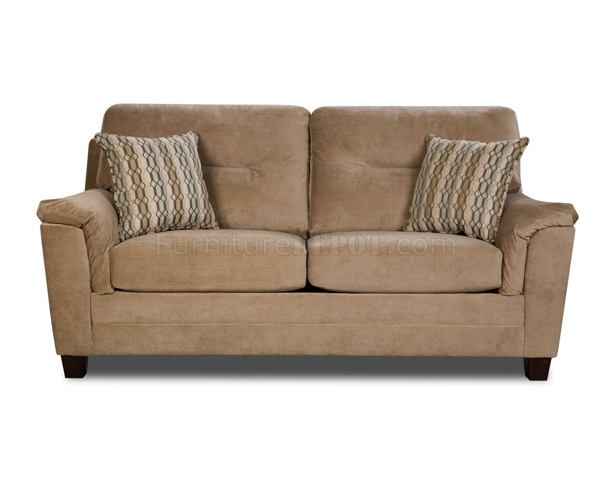 Beige casual fabric modern sofa loveseat set w optional for Modern loveseat