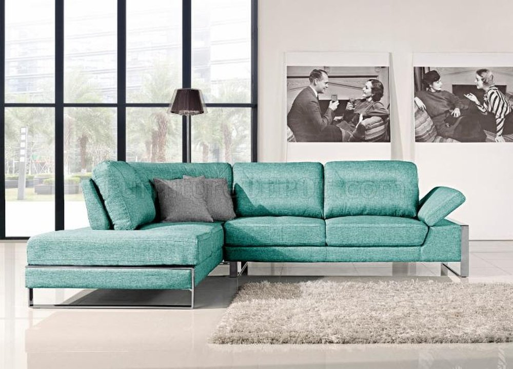 Verona 1332 Sectional Sofa In Aqua Fabric By At Home Usa