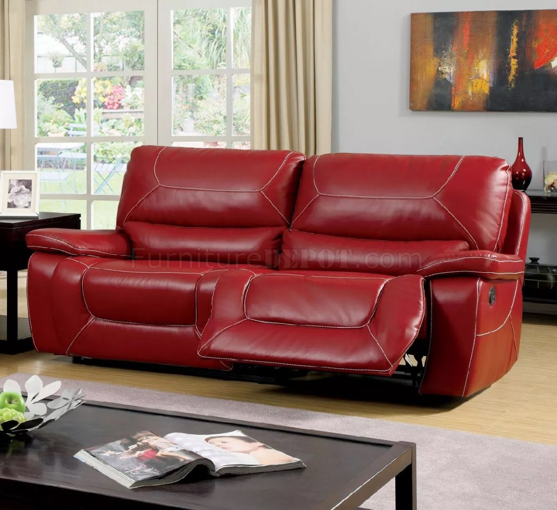 Newburg Reclining Sofa CM6814RD in Red Leather Match w/Options : red leather reclining sofa - islam-shia.org