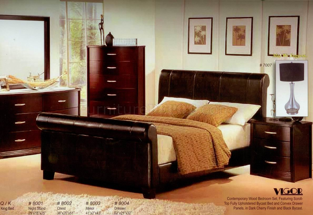 Image of: Dark Cherry Finish Modern Bedroom W Bycast Bed Options