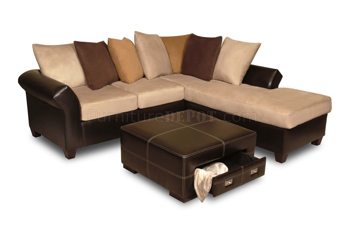 Multi tone combo microfiber sectional sofa w optional ottoman for Microfiber sectional sofa