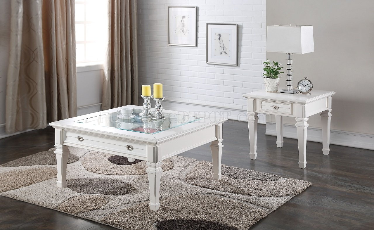 - Adalyn 80530 3Pc Coffee Table Set In White By Acme