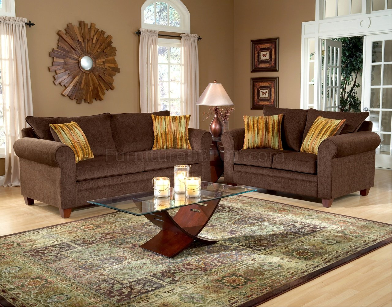 Chocolate fabric elegant living room sofa loveseat set for Chocolate brown couch living room ideas