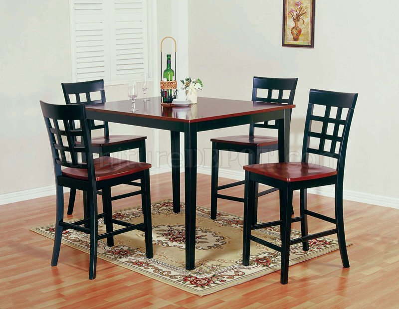 two tone finish modern 5 piece counter height dining set. Black Bedroom Furniture Sets. Home Design Ideas