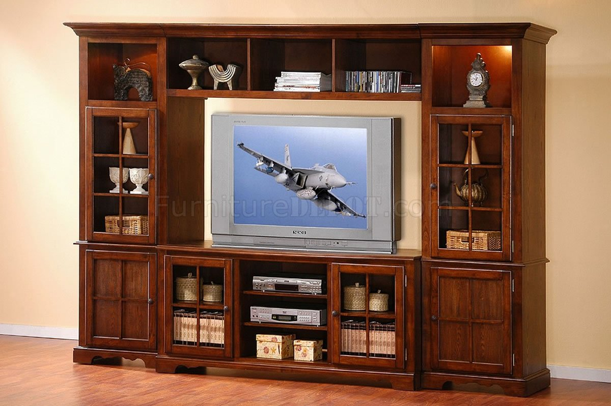 Merlot Oak Finish Classic Large Wall Unit W/Lights in Towers