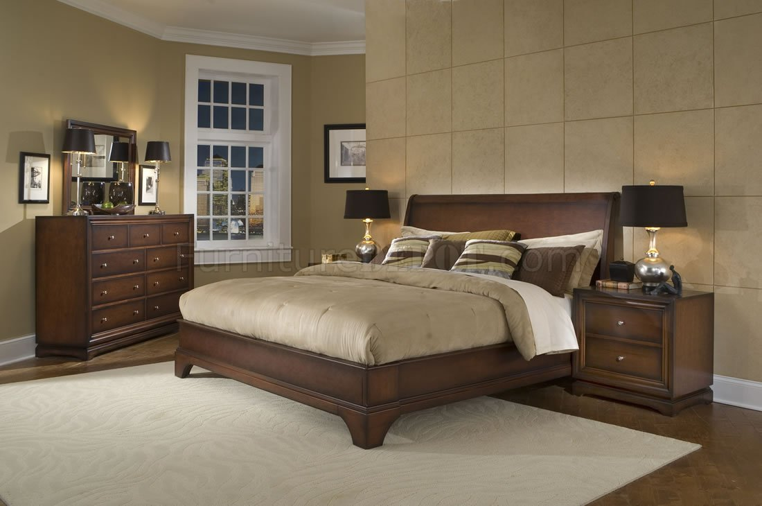 - Antique Walnut Finish Contemporary Bedroom