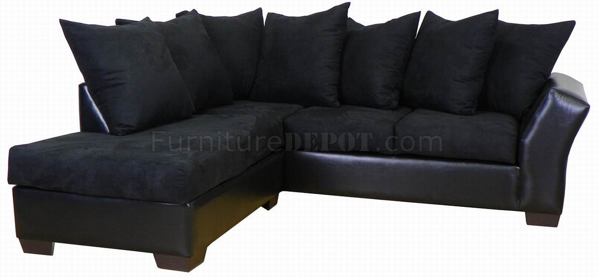 Black fabric bicast modern sectional sofa for Black fabric couches