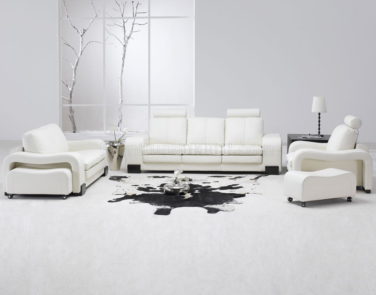 White Leather 4Pc Modern Sofa, Loveseat, Chair & Couch Stool Set
