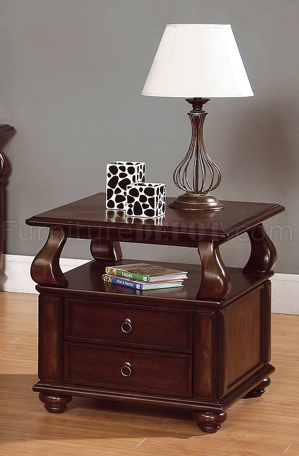 Rich Brown Cherry Finish Cocktail Table W Drawer Storage