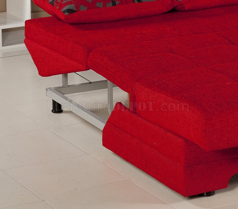 Twist Story Red Loveseat Sleeper In Fabric By Istikbal