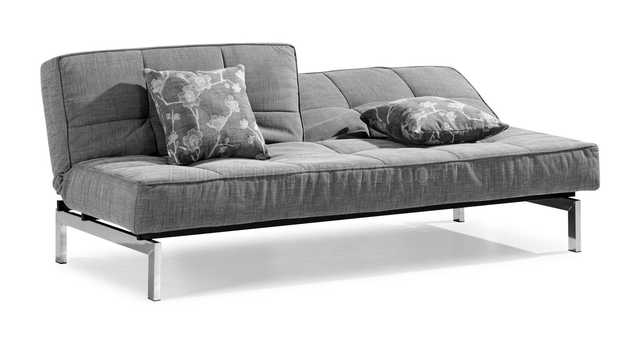 Gray Microfiber Convertible Sleeper Sofa With Split Back