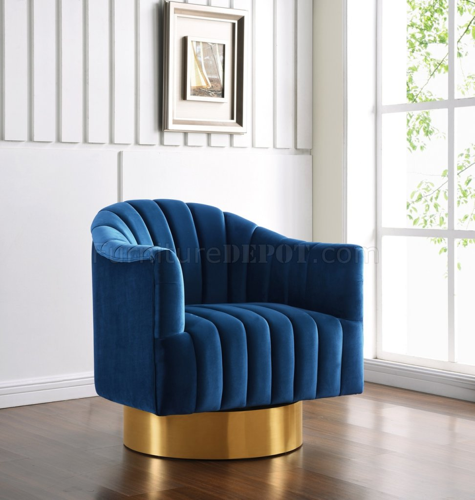 Farrah Accent Chair 520 In Navy Velvet Fabric By Meridian