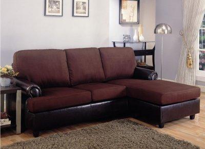 Dark Brown Microfiber Modern Small Sectional Sofa W Vinyl Base