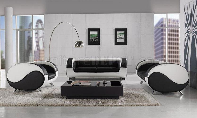 white leather living room set.  Black White Leather 3Pc Modern Artistic Living Room Set