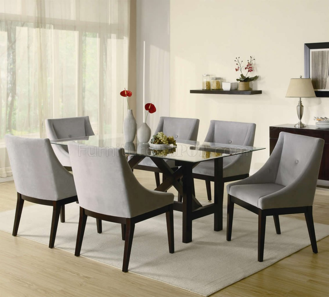 Cappuccino Finish Glass Top Modern Dining Table W/Optional