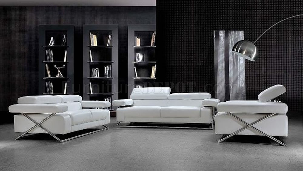 Modern Full Italian Leather 3PC Living Room Set Linx White