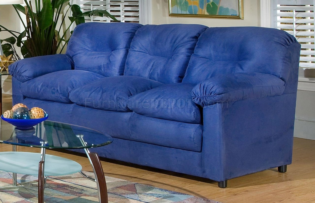 6300 Lisa Sofa Loveseat Set In Cobalt Blue Fabric By Chelsea