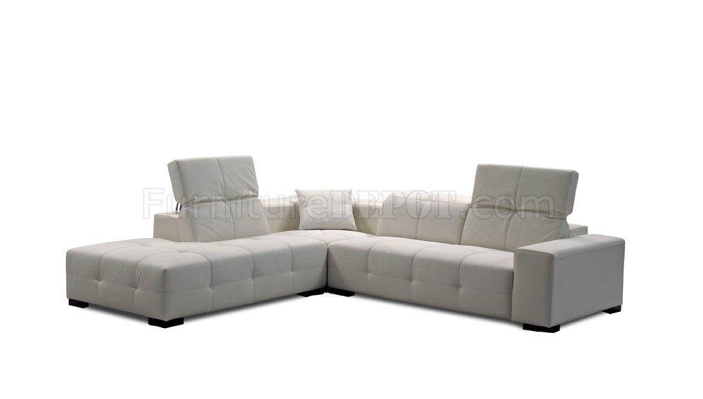 white italian leather modern sectional sofa adjustable headrest p