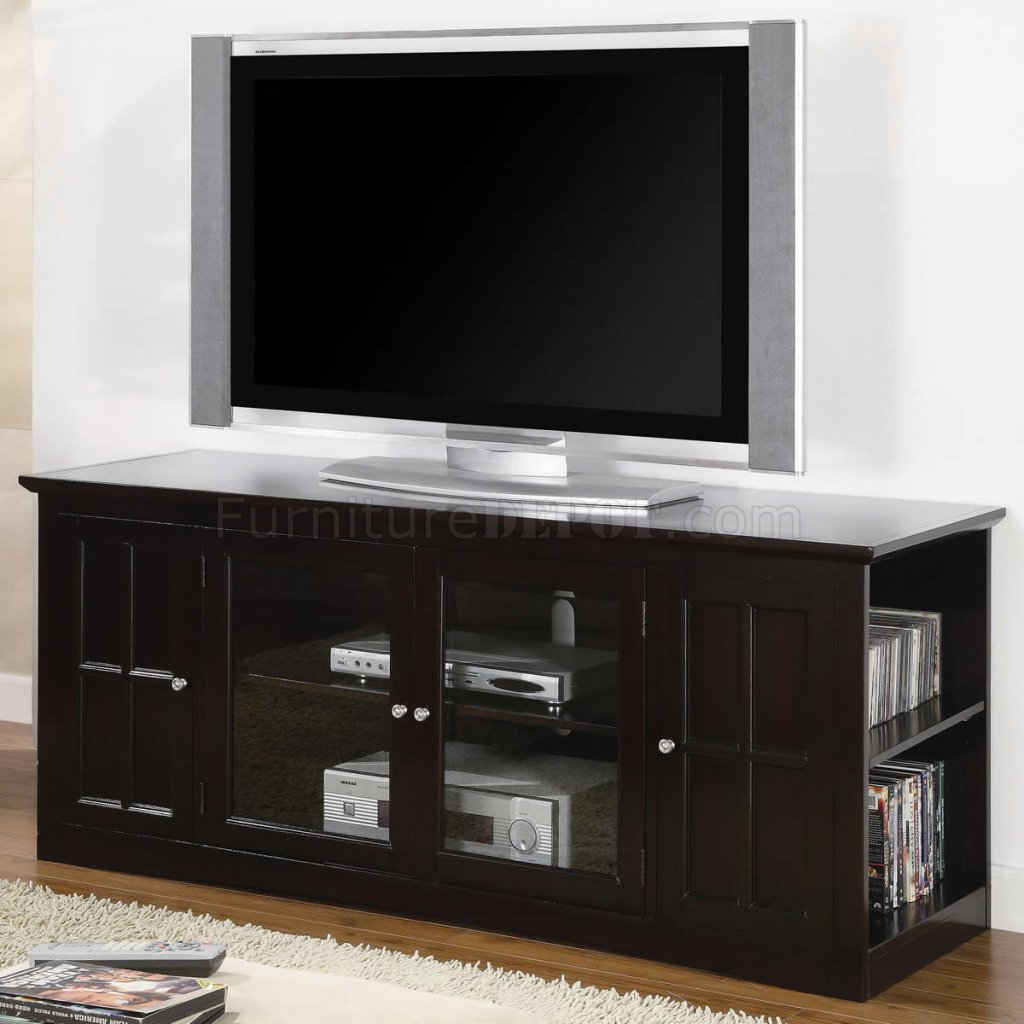 espresso finish modern tv stand w shelves two glass doors. Black Bedroom Furniture Sets. Home Design Ideas