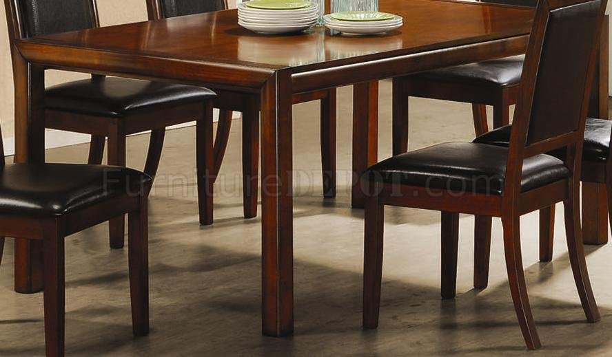 walnut finish elegant dining room furniture w leather seats crds 49