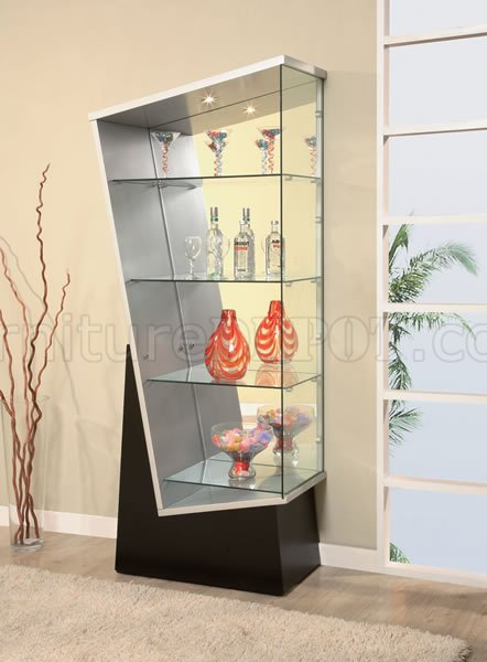 Modern Triangle Shaped Curio With Black Wooden Base