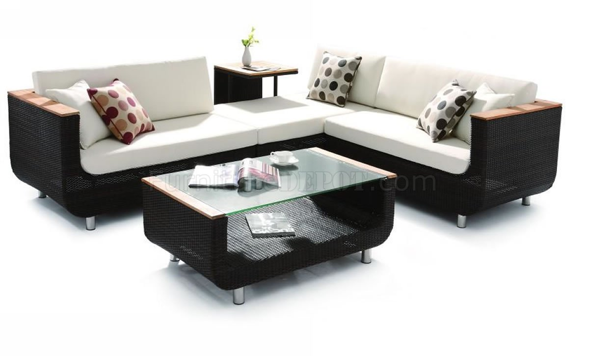 Black Modern Patio Sectional Sofa W Coffee Table VGOUT H01V2