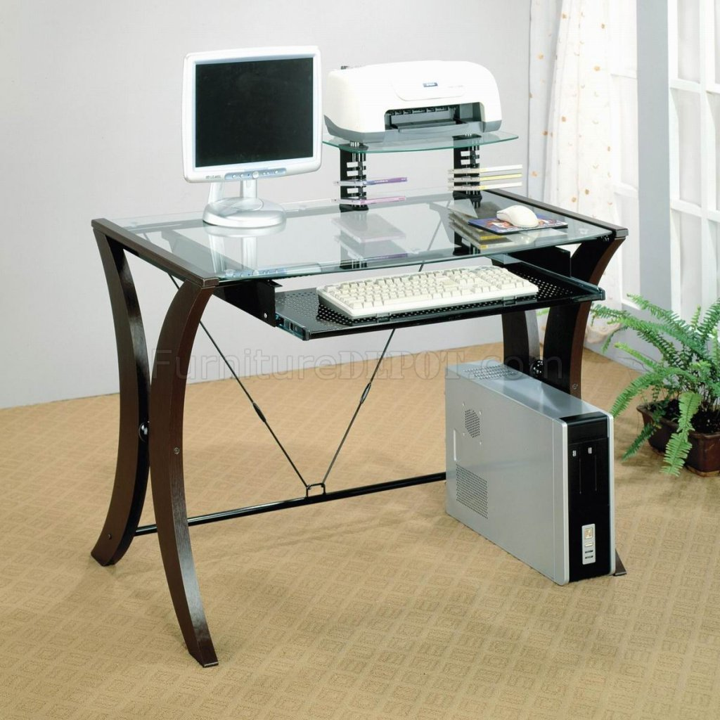 Clear Glass Top Cappuccino Legs Modern Home Office Desk