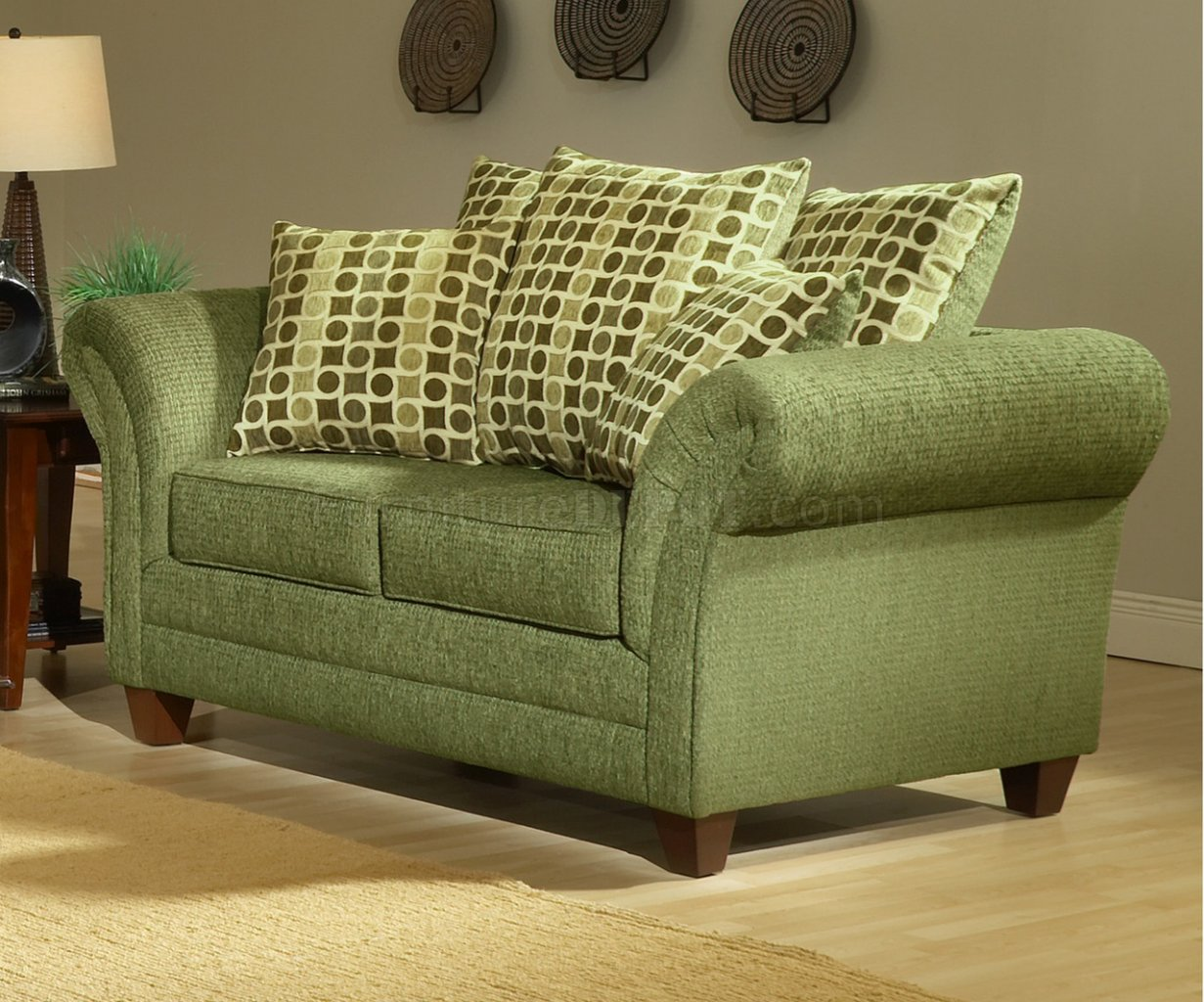 39 Living Room Ideas With Light Brown Sofas Green Blue: Light Forest Green Fabric Modern Living Room Sofa