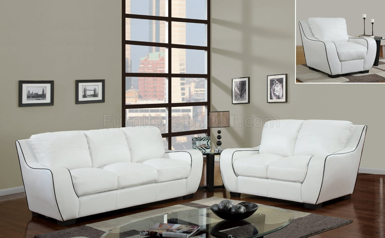 U8080 Sofa In White Bonded Leather By Global Furniture Usa