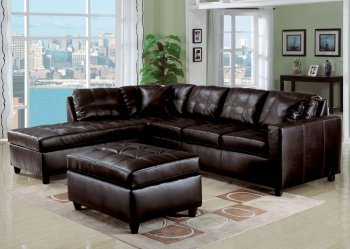 Reviews 51320 Milano Sectional Sofa In Espresso Bonded Leather By Acme