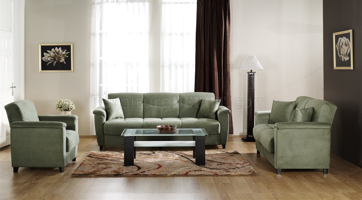 Sage Microfiber Fabric Living Room Storage Sleeper Sofa
