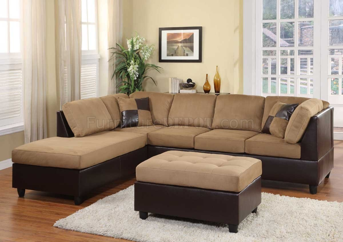 Light brown microfiber modern sectional sofa w ottoman for Microfiber sectional sofa