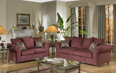 Burgundy Fabric Traditional Sofa Amp Loveseat Set