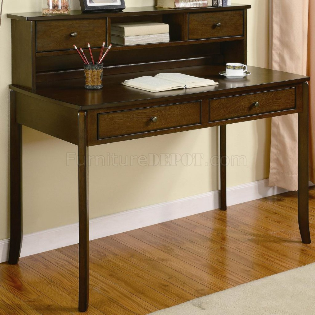 Walnut finish traditional home office writing desk w drawers - Walnut office desk ...