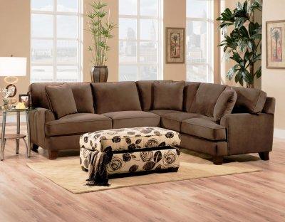 Bella Chocolate Fabric Sectional Sofa W Optional Chair